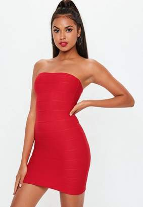 Missguided Red Bandage Bandeau Mini Dress