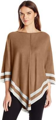 Leo & Nicole Women's Border Stripe Pullover Poncho Sweater