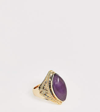 Reclaimed Vintage inspired ring with faux amethyst stone detail