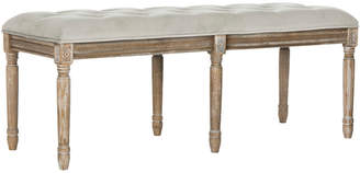 Safavieh Rocha 19''H French Brasserie Tufted Traditional Rustic Wood Bench