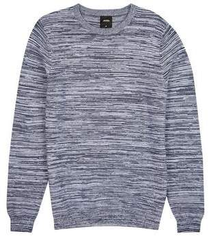 Mens Navy Space Dye Crew Neck Jumper