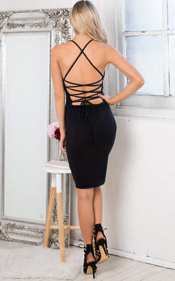 Showpo Cross Over Dress in Black