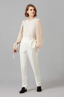 Amanda Wakeley Oyster Cashmere Top with Chiffon Sleeve