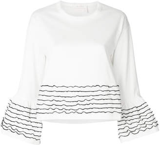 See by Chloe cropped bell sleeve top