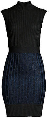 Herve Leger Women's Ribbed Mockneck Mini Dress