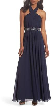 Eliza J Halter Pleated Cross Neck Gown