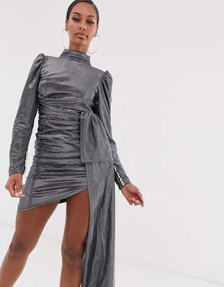 Lioness Empire long sleeve knot front ruched dress in silver