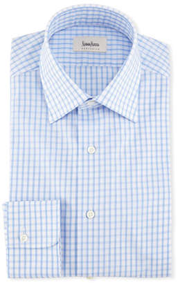Neiman Marcus Large Check Dress Shirt, Blue/White
