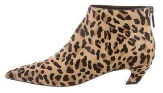 Christian Dior Leopard Print Ponyhair Ankle Booties w/ Tags