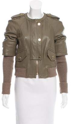Tory Burch Wool-Trimmed Leather Jacket