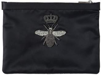 Dolce & Gabbana Bee Embroidered Patch Small Nylon Pouch