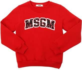 MSGM Sequined Logo Cotton Sweatshirt