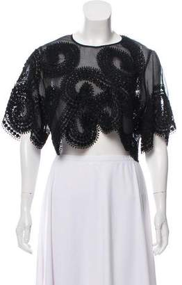 Andrew Gn Eyelet Crop Top