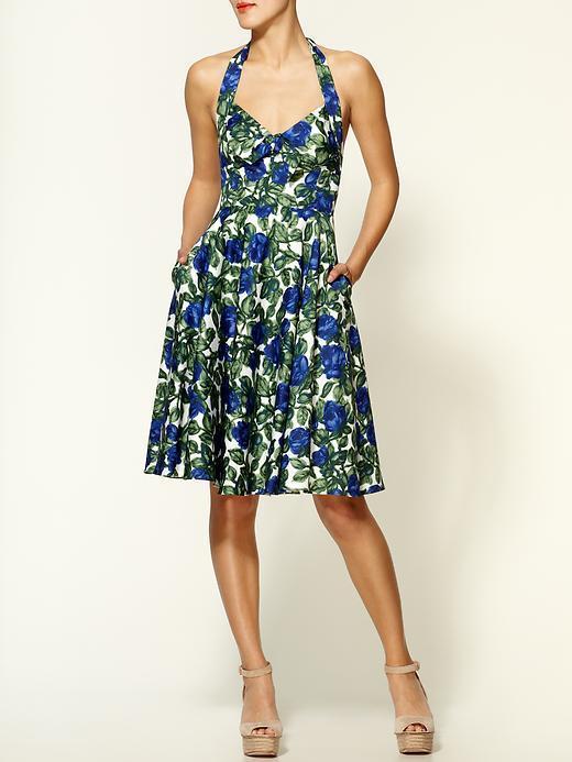 Milly Halter Carolina Indigo Roses Print Dress