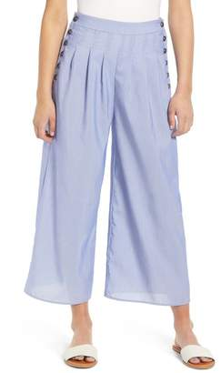 Moon River Side Button Stripe Wide Leg Crop Pants