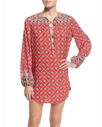Nanette Lepore Pretty Tough Printed Lace-Up Tunic $156 thestylecure.com
