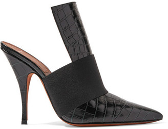 Givenchy - Elastic-trimmed Croc-effect Leather Mules - Black $895 thestylecure.com
