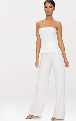 PrettyLittleThing White Bandeau Peplum Jumpsuit