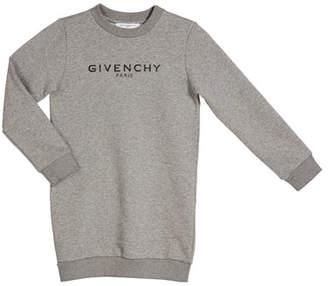 Givenchy Girl's Long-Sleeve Fleece Logo Dress, Size 4-10