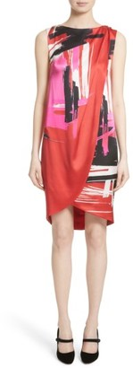 Women's St. John Collection Brushstroke Print Stretch Silk Dress $995 thestylecure.com