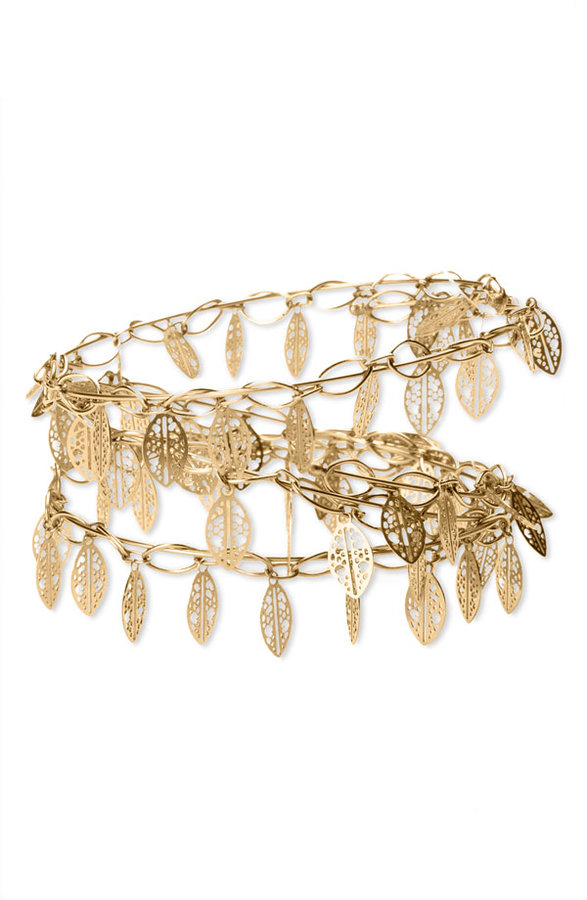 Nordstrom Set of 3 Gold Leaf Bangle Bracelets