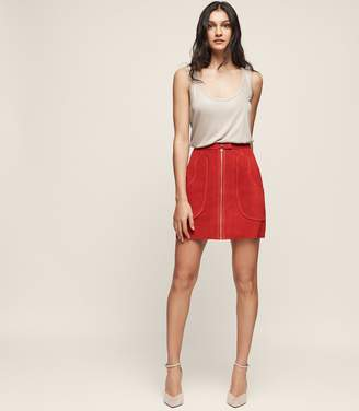 Reiss Keaton Suede A-Line Mini Skirt