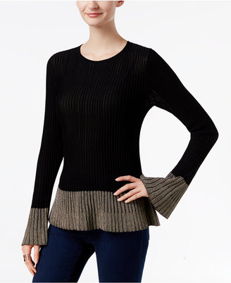 INC International Concepts Flounce-Hem Sweater, Only at Macy's $89.50 thestylecure.com