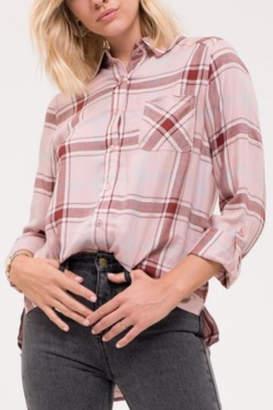 Blu Pepper Pink Button-Down Flannel