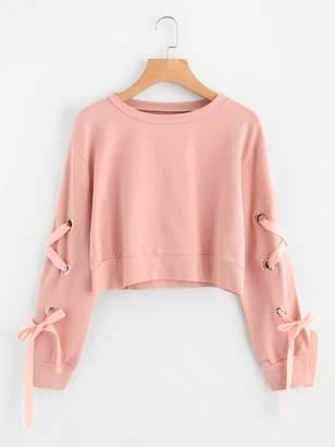 Shein Eyelet Lace Up Sleeve Crop Sweatshirt