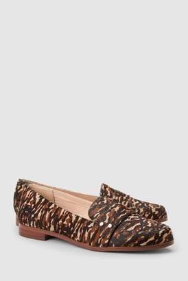 Next Womens Tiger Print Leather Stud Loafers