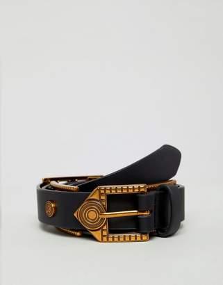 Asos DESIGN plate belt in american gold