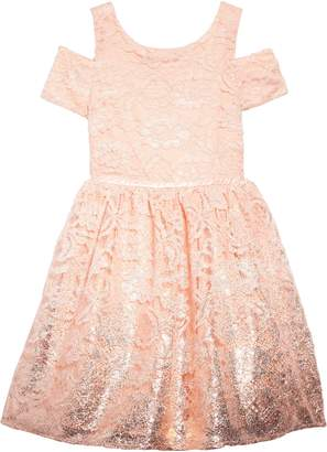 Blush by Us Angels Foiled Lace Dress