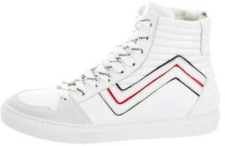 Les Hommes Leather High-Top Sneakers white Leather High-Top Sneakers
