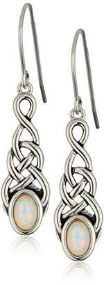 Celtic Sterling Silver Created Opal Knot Linear Drop Earrings