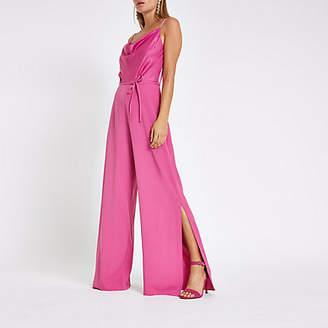 River Island Dark pink cowl neck cami strap jumpsuit