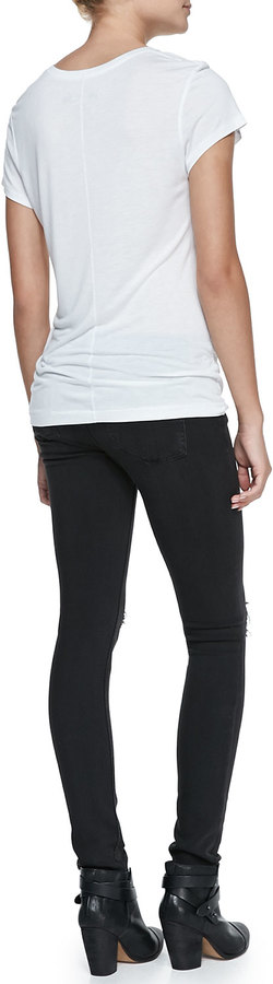Rag and Bone The Skinny Distressed Denim Jeans, Soft Rock W/Holes