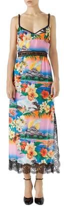 Gucci Lace Trim Tropical Print Silk Slipdress
