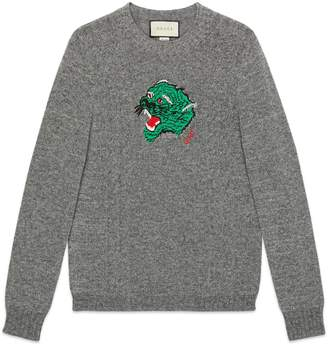 Gucci Wool sweater with panther face