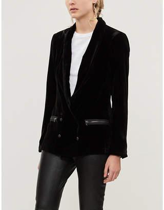 Paige Karissa double-breasted shawl-collar velvet blazer