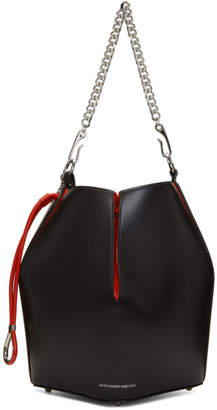 Alexander McQueen Black and Red Chain Bucket Bag