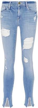 Frame 'Le Skinny de Jeanne' split cuff ripped jeans
