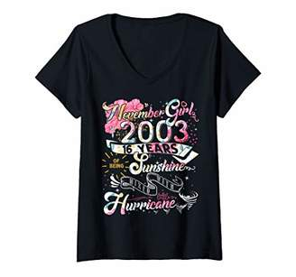 Womens Classic 16th birthday gift 16 year old Vintage November 2003 V-Neck T-Shirt