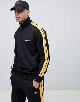 Ellesse Vinio 1/2 Zip Sweatshirt With Sleeve Stripe In Black