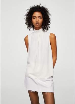 MANGO Tie Neck Blouse - Off White