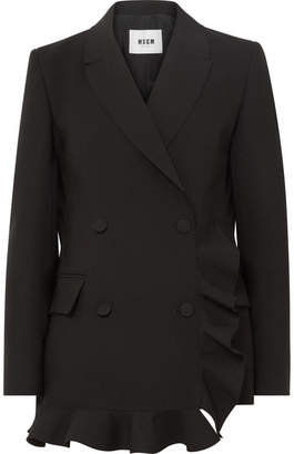 MSGM Double-breasted Ruffled Crepe Blazer - Black