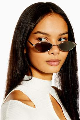 Topshop Womens Slender Oval Silver And Smoke Sunglasses - Silver