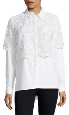 French Connection Lace Cotton Button-Down Shirt