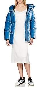 Women's Velvet Down-Quilted Puffer Coat - Lt. Blue