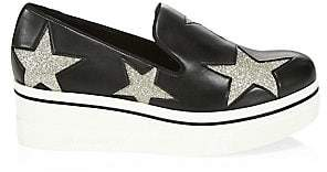 Stella McCartney Women's Glitter Embroidered Star Patch Sneakers