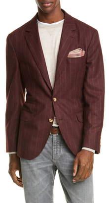 Brunello Cucinelli Trim Fit Chalk Stripe Wool Blend Sport Coat